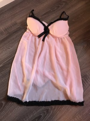 Dessous Negligé pink rosa schwarz Schleife spitze rüschen Chiffon neu