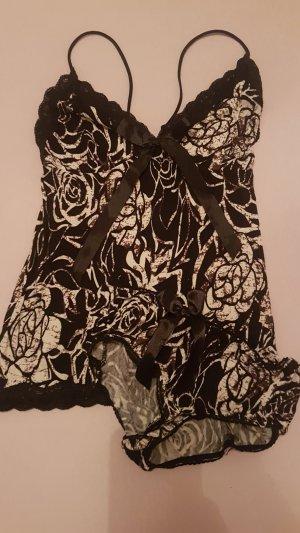Conjunto de lencería blanco-negro