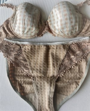 Conjunto de lencería marrón arena-camel poliamida