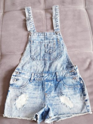Destroyed Denim Latzhose Shorts/Einteiler