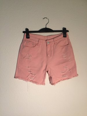 Destroyed Denim-Shorts rosa 38