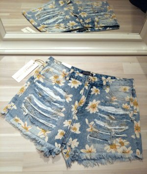 Destroyed Gänseblümchen Highwaist Shorts Hippie Boho Jeansshorts