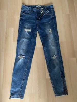 Pull & Bear High Waist Jeans cornflower blue-cream