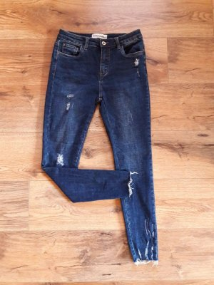 Destroyed Ripped Skinny Slim Jeans blau Gr. M