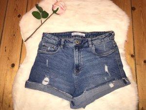 Zara Denim Shorts steel blue-slate-gray