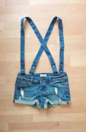 Destroyed Used Jeans Hot Pants Shorts Hosenträger Latzhose blau 34 36 XS S