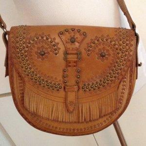 Detailreich verzierte Vintage Leder Tasche