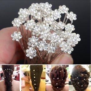 Details zu  20 Stück Haarnadeln Kopfschmuck Haarschmuck Perle Hochzeit Braut Brautschmuck