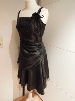 Details zu  Abendkleid Taft Organza Kleid Cocktailkleid schwarz Abiball Hochzeit Gr. 42 44