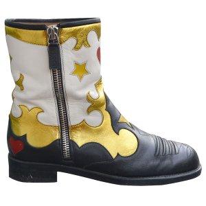 Details zu  Gucci Biker Boots, Bikerstiefel aus Leder, mit Muster, Gr. 40