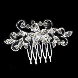 Details zu  Haarkamm Kopfschmuck Haarschmuck Hochzeit Braut Brautschmuck Strass Perlen weiß