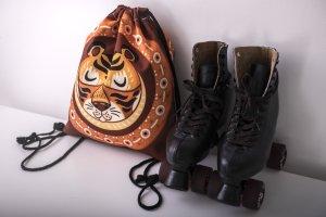 Details zu  TIGER Love Braun Trendying Turnbeutel Sporttasche Drawstring Rucksack Backpack