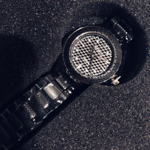 Analog Watch black-silver-colored
