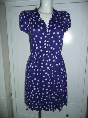 DETP Polka Dots Kleid Rüschen V-Neck Knopfleiste blau m weißen Punkten Gr S 36