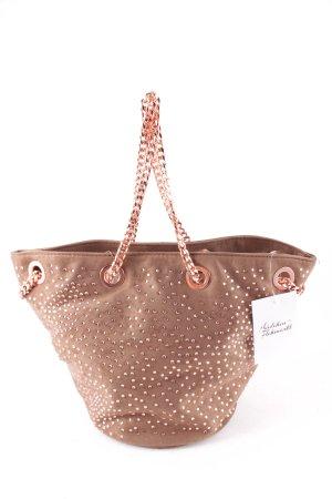 deux lux Beuteltasche hellbraun-roségoldfarben extravaganter Stil