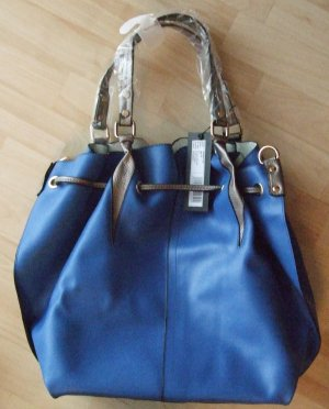 di Lauro Pouch Bag blue imitation leather