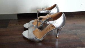 Di Lauro Pumps High Heels silber Gr. 36 Echtleder Leder