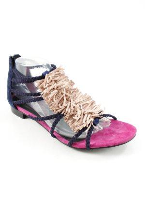 di Lauro Riemchen-Sandalen abstraktes Muster Fransenbesatz