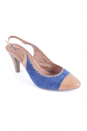 di Lauro Strapped High-Heeled Sandals camel-dark blue casual look