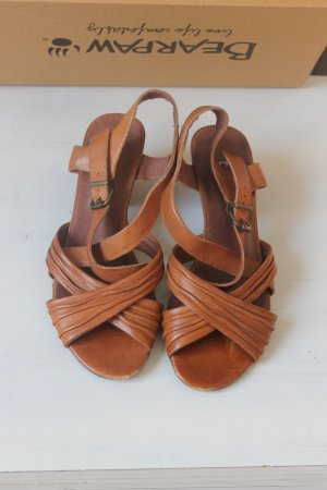 Strapped High-Heeled Sandals cognac-coloured leather