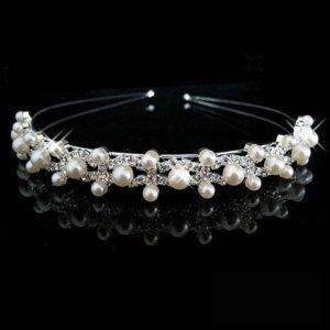 Diadem Kopfschmuck Haarschmuck Perlen Hochzeit Braut Brautschmuck Strass Tiara