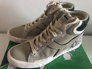 Diadora High Top Sneaker 41 beige grün Schlangen Muster Echtleder
