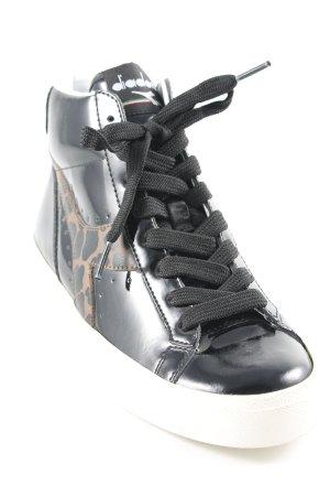 Diadora High Top Sneaker schwarz Animalmuster Casual-Look