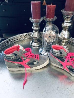 Diadora italienische sneacker Knöchel Turnschuhe Leder grau mit pink Größe 41-41,5