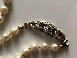 Diamant Brillant 333 Gold Perlen Kette Collier Perlenkette Luxus