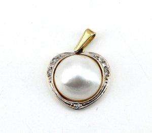 Diamant Brillant 333 Goldanhänger Bicolor grosse Mabé Zuchtperle weissgold gelbgold