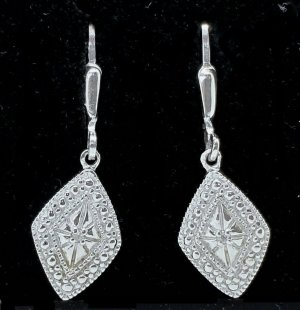 Diamant Brillant Art Déco Ohrringe 925 Silber 2 Brillianten Diamanten 0,016ct