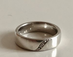 Diamant Brillant Ring Silberring 925 Sterling Silber Bandring Freundschaftsring Luxus Vintage Meisterpunze Juwelierstück