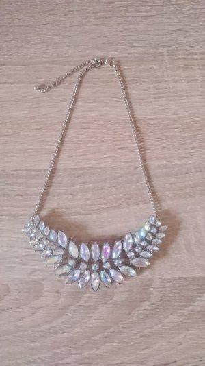 Diamant Glitzer Regenbogen Statement Kette silber