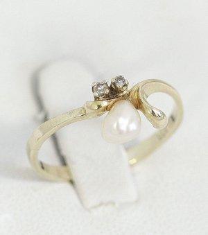 Diamant Goldring 333 Gold 2 Diamanten & Echtperle Vintage Echtgold echt Perle Modern Art Vintage Ring