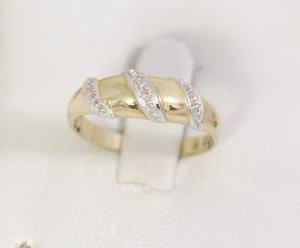 Diamant Goldring 333 Gold mit 2 Diamanten 333er Gelbgold Weissgold Bicolor Ring Modern Art