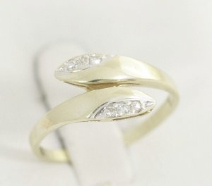 Diamant Goldring 333 Gold mit 6 Diamanten Brillanten 333er Gelbgold Ring Modern Art Vintage