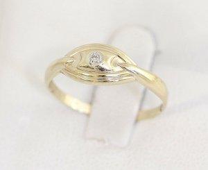 Diamant Goldring 375er Gold Ring Gelbgold Vintage mit einem Diamanten Brillantring Brillant