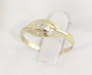 Diamant Goldring 375er Gold Ring mit Diamant Gelbgold Vintage