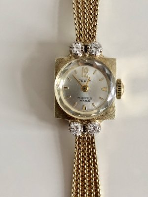 Diamanten 585 Gold Armband Uhr Brillanten 14k Armbanduhr Damen Golduhr brillant Diamant