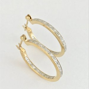 Ear Hoops gold-colored-white real gold
