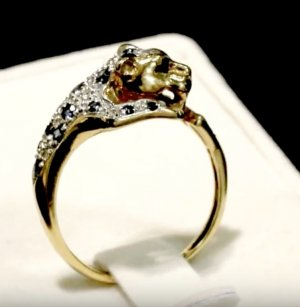 Diamanten Saphire 375 Gold Panther Leo Leopard Ring 9ct Goldring Saphir Diamant Vintage