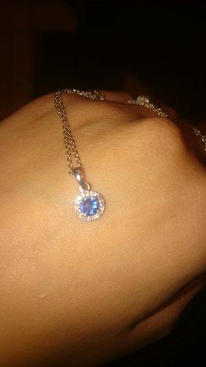 Diamantkette mit blauem Saphir