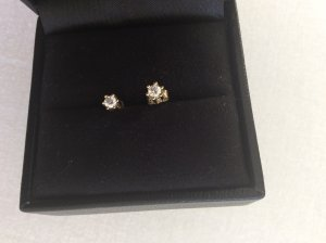 Diamantohrstecker, Gold 8 Karat, Diamant 0,1 Karat