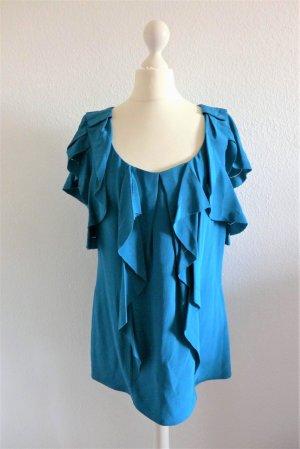 Diane von Fürstenberg Bluse Top Oberteil Tunika Shirt petrol blau Seide US8 dt. 38 S