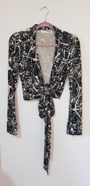 Diane von Furstenberg Blusa cruzada negro-color plata