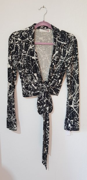 Diane von Furstenberg Wraparound Blouse black-silver-colored