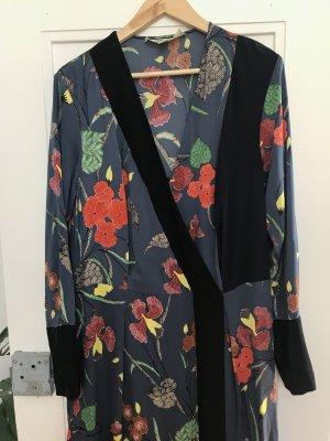 Diane von Fürstenberg Kimono Kleid aus Seide mit Blumen-Print blau 36 / 38