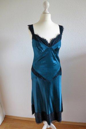 Diane von Fürstenberg Kleid Maire 20er Vintage Gatsby Seide schwarz petrol blau grün Gr. 36/38 (6)