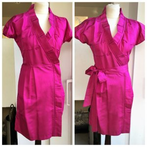 * DIANE VON FÜRSTENBERG * KNALLER WICKEL KLEID 100% SEIDE pink Raffungen  COCKTAIL PARTY Rüschen Gr US 6 / 36 S