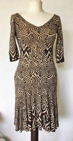 Diane von Furstenberg Mini-jurk zandig bruin-zwart Zijde